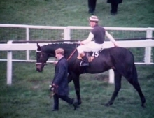 Josh Gifford on Honey End on the way to the start of the 1967 Grand National