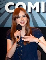 Karen Gillan talks to visitors to the London Film & Comic Convention at London's Earl's Court in July 2011