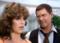 Linda Gray as Sue Ellen Ewing & Larry Hagman as JR Ewing in 'Dallas'