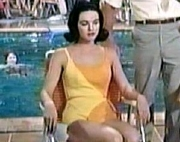 Linda Gray as the Yellow-Swimsuited Girl at the Pool in 'Palm Springs Weekend' (1963)