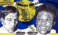 Advertising poster for Emile Griffith's fight with Joey Archer in 1966