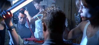 Linda Hamilton & her twin sister Leslie in a scene from 'Terminator 2: Judgment Day'