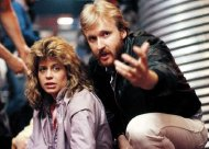 Linda Hamilton with director James Cameron during the filming of 'The Terminator'