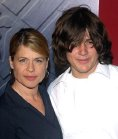 Linda Hamilton with her son Dalton at the premiere of 'Hellboy' in 2004