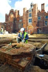 Archaeological dig at Hampton Court Palace