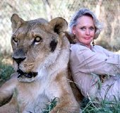 Tippi Hedren with one of her big cats at the Shambala Preserve