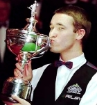 Stephen Hendry with the World Championship trophy