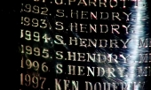 Stephen Hendry's name engraved on the World Championship trophy