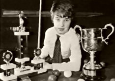 Stephen Hendry in 1985 with some of his trophies
