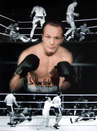Sir Henry Cooper signed photo showing scenes from his 1963 fight with Cassius Clay (Muhammad Ali)