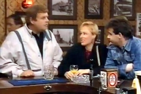 Geoffrey Hughes with Sally Whittaker & Michael LeVell in his final 'Coronation Street ' episode in1987
