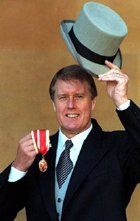 Geoff Hurst after receiving his knighthood in 1998
