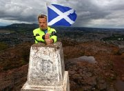 Eddie Izzard at Arthur's Seat in Edinburgh during one of his 43 marathons