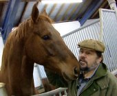 Jethro in his purpose-built stables with his favourite horse