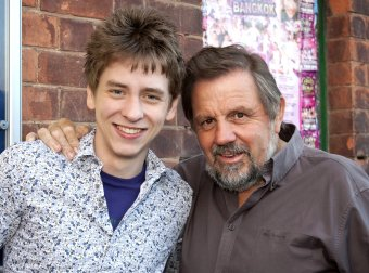 Ciaran Brown with Jethro outside the Majestic Theatre at Retford in June 2010