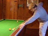 Jethro enjoys a game of pool at 'Jethro's Club'