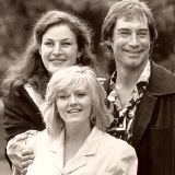 Julie T. Wallace, Timothy Dalton & Camille Coduri in a publicity shot for 'Hawks'