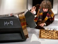 Tom Baker as Dr Who with K-9