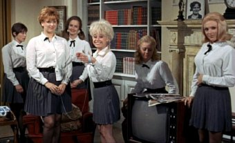 Anna Karen, Barbara Windsor and the girls in 'Carry On Camping'