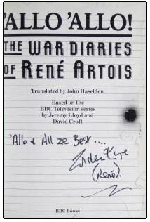Autographed title page of 'The War Diaries of Rene Artois'