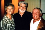 Star Wars producer and writer George Lucas, with Valerie Gale and Kenny Baker