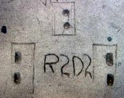 R2-D2's footprints in concrete outside Grauman's Chinese Theatre in Hollywood