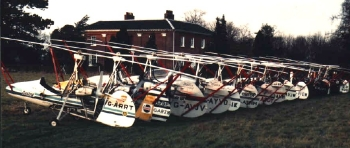 Ken Wallis' fleet of autogyros at Reymerston Hall