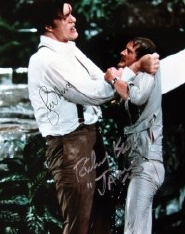 Photograph from 'Moonraker' signed by Roger Moore and Richard Kiel