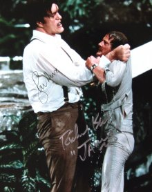Richard Kiel and Roger Moore signed photograph