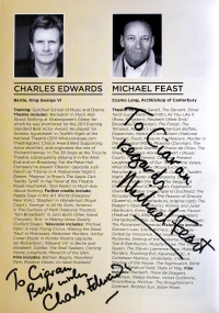Charles Edwards signed programme for 'The King's Speech'