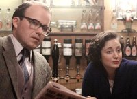 Rory Kinnear as Denis Thatcher & Andrea Riseborough as Margaret Thatcher in 'Margaret Thatcher: The Long Walk to Finchley' (2008)