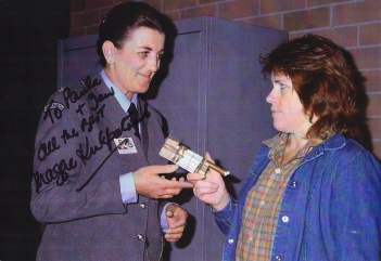 Maggie Kirkpatrick signed photograph showing her as Joan Ferguson with Carole Skinner as Nola McKenzie in 'Prisoner: Cell Block H'