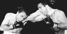 Jake LaMotta fighting Marcel Cerdan for the World Middleweight title in 1949