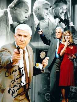 Leslie Nielsen signed photo montage of 'The Naked Gun'