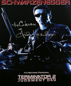 Linda Hamilton has signed this print of 'Terminator 2: Judgment Day'