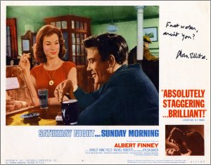 Lobby Card from 'Saturday Night and Sunday Morning' signed by Alan Sillitoe