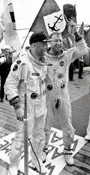 Buzz Aldrin and Jim Lovell on board USS Wasp after the splashdown of Gemini 12