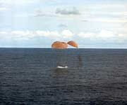 Apollo 13 splashes down
