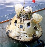 The Apollo 8 module back on board USS Yorktown after a successful splashdown