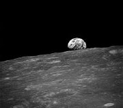 'Earth rise' and the lunar surface as seen from Apollo 8