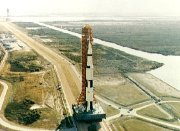 Apollo 13 with its Saturn rocket, being taken to the launch pad at the Kennedy Space Centre