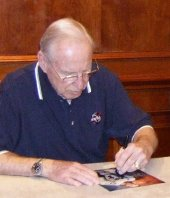 Jim Lovell signing photograph