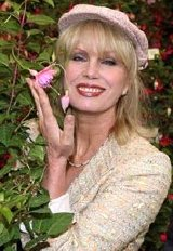 Joanna Lumley at Chelsea Flower Show, with a fuchsia named after her