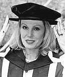 Joanna Lumley at Oxford Brookes University to receive her degree in 2000