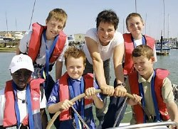 Ellen MacArthur with children from the Ellen MacArthur Trust at Cowes