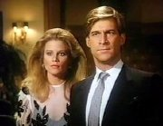 Simon MacCorkindale & Laura Johnson in 'Falcon Crest'