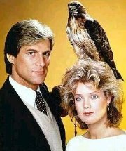Simon MacCorkindale & Melody Anderson publicity shot for 'Manimal' (1983)