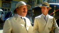 Simon MacCorkindale with Peter Ustinov in Agatha Christie's 'Death on the Nile'