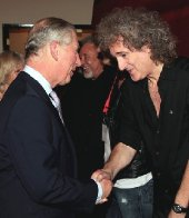 Brian May meets Prince Charles after The Prince's Trust 'Rock Gala' in 2010