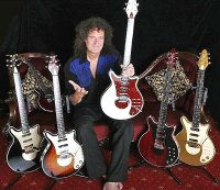 Brian May with some of his guitars